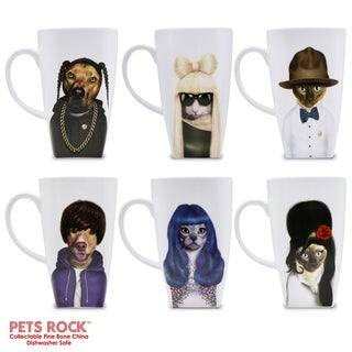 "Pets Rock ""Music"" Collectible Fine Bone China Mugs - set of 6"