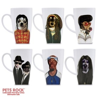 "Pets Rock""Icons"" Collectible Fine Bone China Mugs - set of 6"