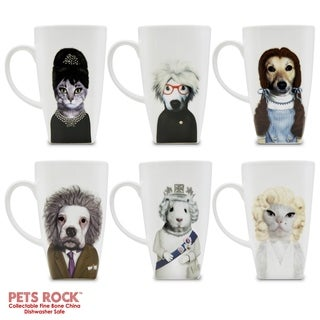 "Pets Rock""Royal"" Collectible Fine Bone China Mugs - set of 6"