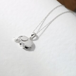 1 20ct TDW Diamond Elephant Necklace In Sterling Silver By De Couer White