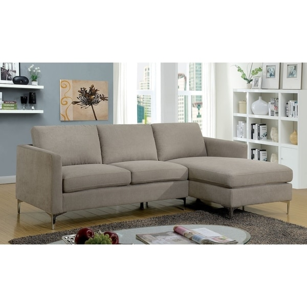 Shop Nisz Contemporary Grey Fabric Chaise Sectional Sofa - Free ...