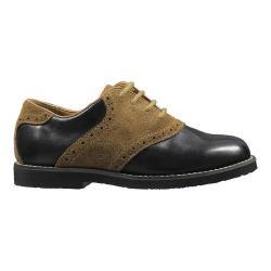 Boys' Florsheim Kennett Plain Toe Oxford Jr. II Black Smooth Leather/Mocha Suede