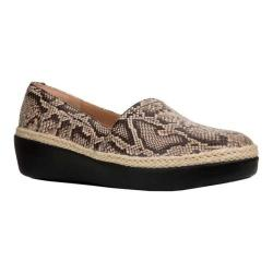 Women's FitFlop Casa Wedge Loafer Taupe Snake Embossed Leather/Jute Trim