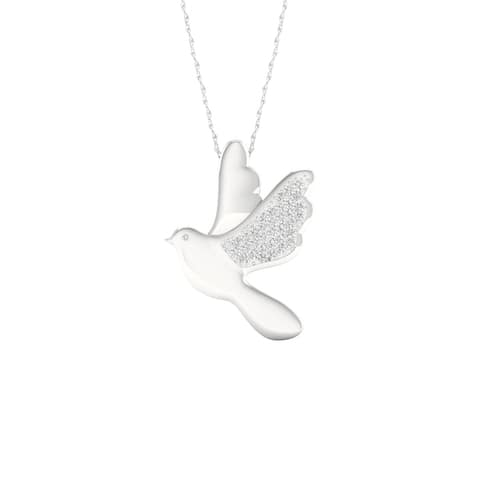 1/10ct TDW Diamond Charm Pendant in Sterling Silver - Dove - White