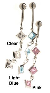 Carolina Glamour Collection Surgical Steel Dangling Jewels Barbell Belly Ring
