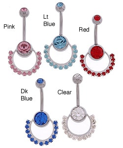 Carolina Glamour Collection Stainless Steel Ring Of Jewels Barbell Belly Ring