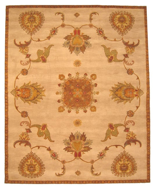 Hand-tufted Jewel Ivory Wool Rug (7'9 x 9'9) - Thumbnail 0