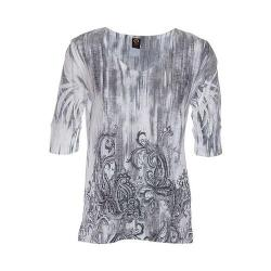 Women's Ojai Clothing Burnout Relaxed Fit Vee Black Paisley Rain