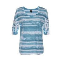 Women's Ojai Clothing Burnout Relaxed Fit Vee Scuba Blue Waves