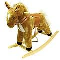 Tan Wood and Fabric Plush Rocking Horse Animal Toy