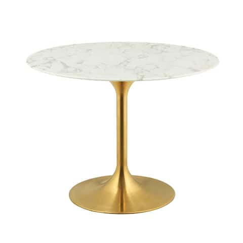 """Lippa 40"""" Round Dining Table - Gold White"""