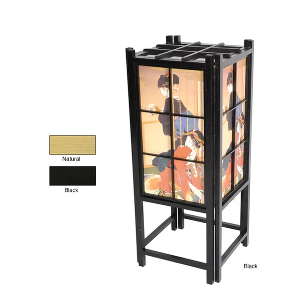 Handmade Geisha Design Shoji Accent Lantern Lamp (China)