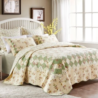 Greenland Home Bliss Oversized Reversible Authentic Patchwork Cotton Quilt Set