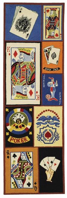 Safavieh Hand-hooked Ultimate Poker Multi Wool Runner (2'6 x 8')