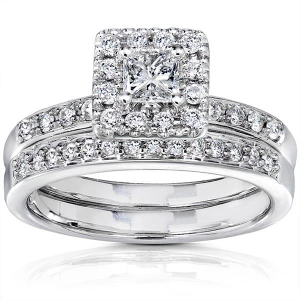 Annello by Kobelli 14k White Gold 3/5ct TW Princess Diamond Wedding Ring (I1-I2 )