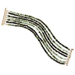 DaVonna 14k Gold over Silver Green Tourmaline 7-row Bracelet (3-4 mm)