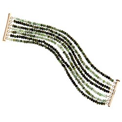 DaVonna 14k Gold over Silver Green Tourmaline 7-row Bracelet (3-4 mm)