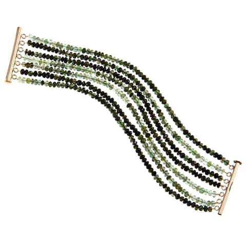 DaVonna 18k Gold over Silver 3-4 mm Green Tourmaline 7-row Bracelet