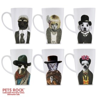 "Pets Rock""Western"" Collectible Fine Bone China Mugs - set of 6"