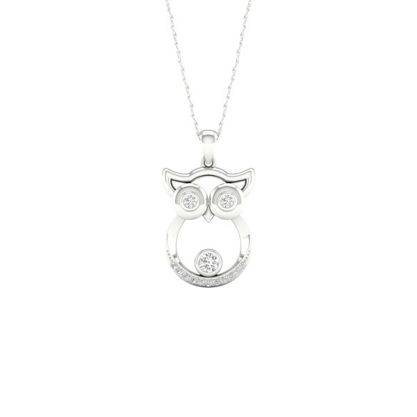 c53bd6ce7 Shop 1/20ct TDW Diamond Animal Pendant in Sterling Silver - Owl ...