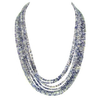 "DaVonna 18k Gold over Silver 3.5-5mm Blue Iolite Multi-Strand Necklace 20"" - Purple"