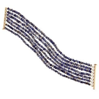 DaVonna 18k Gold over Silver 3-4 mm 7-row Blue Iolite Bracelet