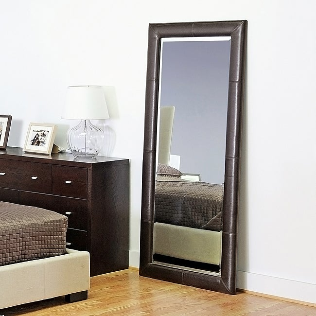 Black Faux Leather Full Length Mirror