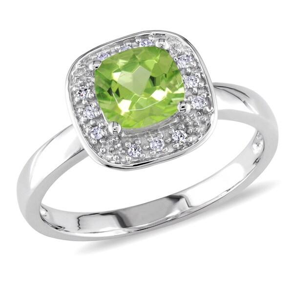 Miadora 10k White Gold Square Peridot Ring
