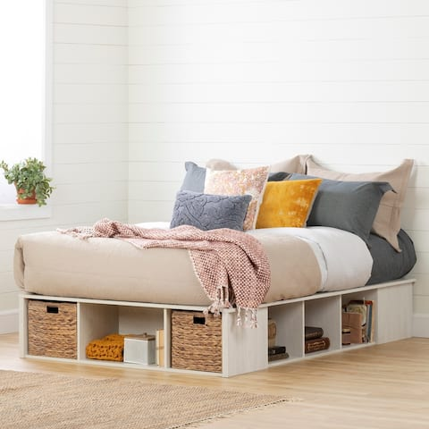 South Shore Avilla Storage Bed with Baskets, Winter Oak and Rattan