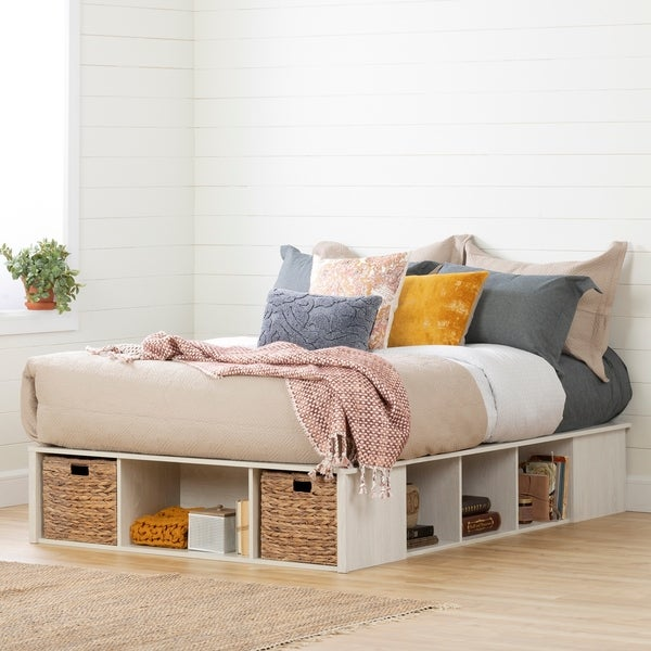 South Shore Avilla Storage Bed with Baskets, Winter Oak and Rattan. Opens flyout.