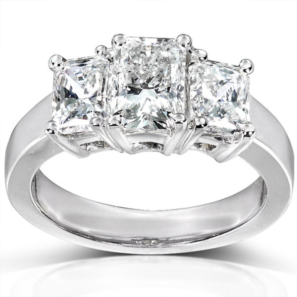 Annello by Kobelli 14k White Gold 2-4/5ct TDW Radiant Diamond Ring