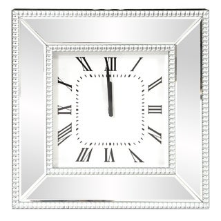 Mirrored Square Frame Wall Clock - N/A