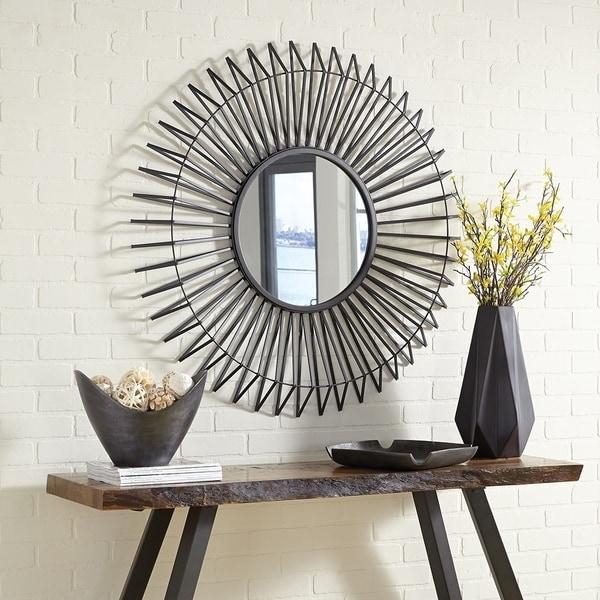 Kenton Sunburst Iron Frame Wall Mirror - Graphite - A/N