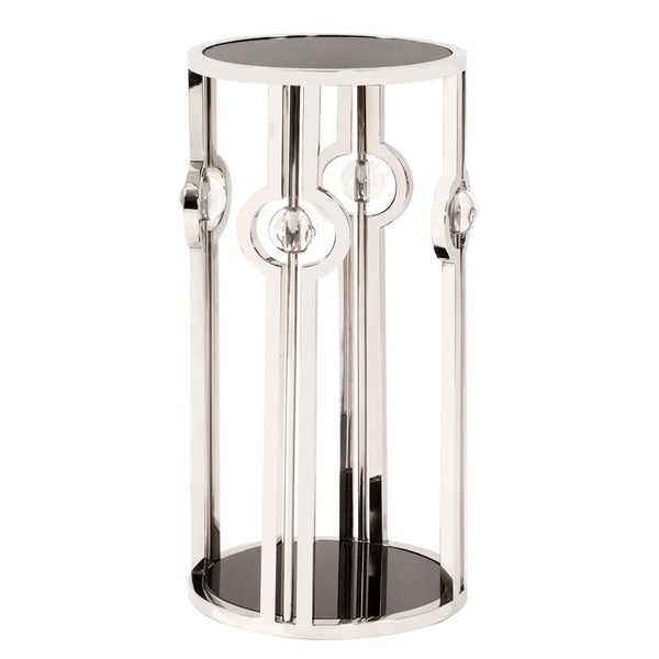 Allan Andrews Stainless Steel Pedestal with Black Tempered Glass and Acrylic Ball Details