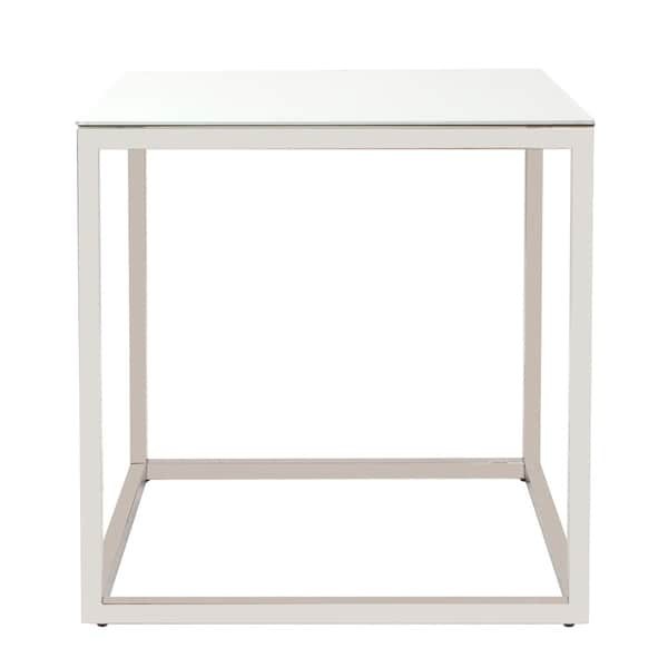 Square Stainless Steel End Table - White