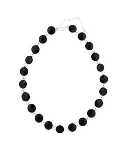 Glitzy Rocks Sterling Silver Onyx Bead Disc Necklace