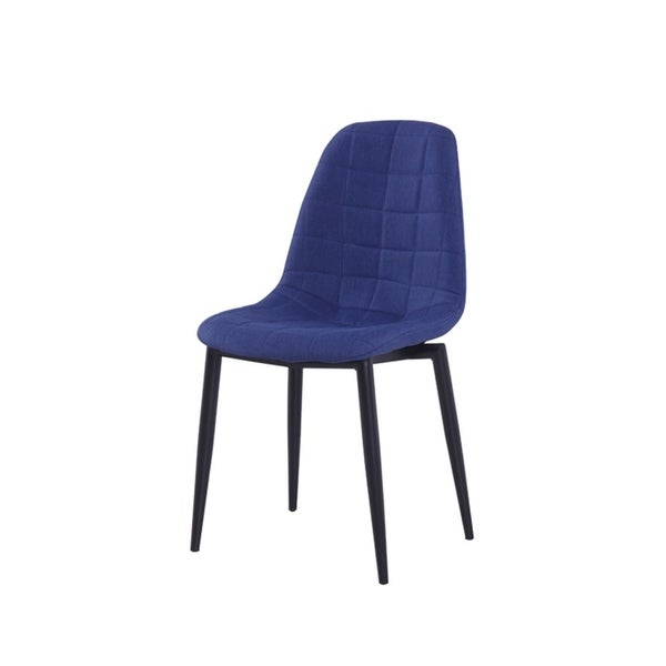 HomeRoots Furniture Modern Blue Upholstered Fabric Dining Chair with Black Metal Legs - Set of 2