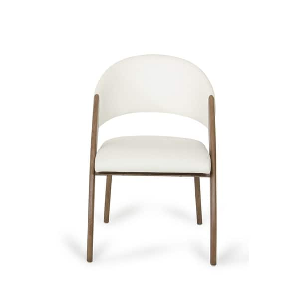 HomeRoots Furniture Modern Cream Upholstered Leatherette Dining Chair with Walnut Finished Wood Frame