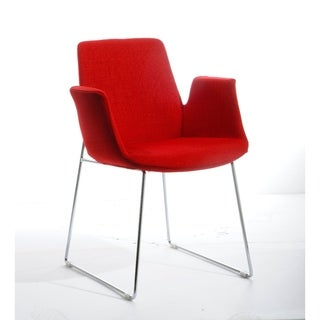 HomeRoots Furniture Modern Upholstered Red Polyester Fabric Dining Chair