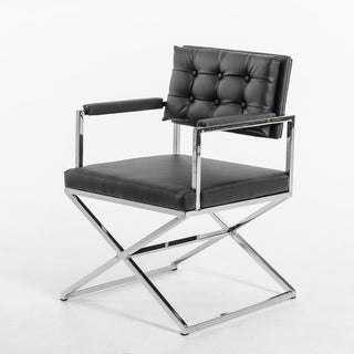 HomeRoots Furniture Modern Black Upholstered Leatherette Dining Armchair with Chrome Frame