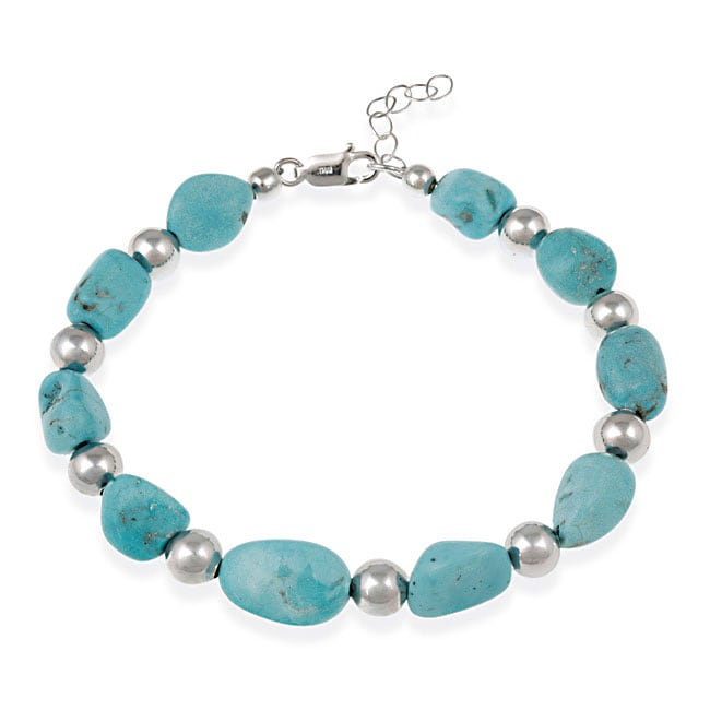 Glitzy Rocks Sterling Silver Turquoise Nugget Bracelet