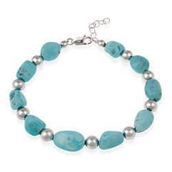 Glitzy Rocks Sterling Silver Turquoise Nugget Bracelet - Thumbnail 0
