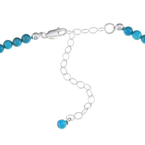 Glitzy Rocks Sterling Silver Reconstituted Turquoise Necklace