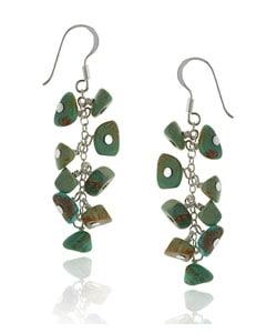 Glitzy Rocks Sterling Silver Turquoise Cluster Earrings