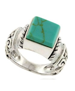 Glitzy Rocks Sterling Silver Synthetic Turquoise Ring