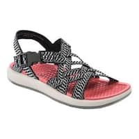 Women's Bare Traps Woods Active Sandal Black/White Textile