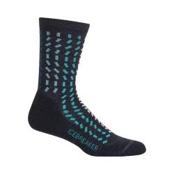 Women's Icebreaker Lifestyle Light Rectangle River Crew Sock Jet Heather/Mediterranean/Blizzard Heather