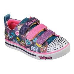 Girls' Skechers Twinkle Toes Shuffles Sparkle Glitz Light Up Shoe Navy/Multi