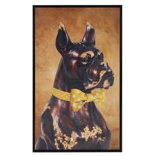 Bow Tie Boxer Canvas Wall Art - Yellow