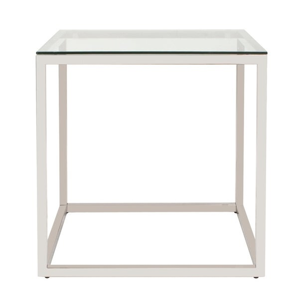 Square Stainless Steel Clear-top End Table